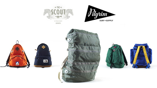 A collection of vintage backpacks on view at Pilgrim Surf + Supply